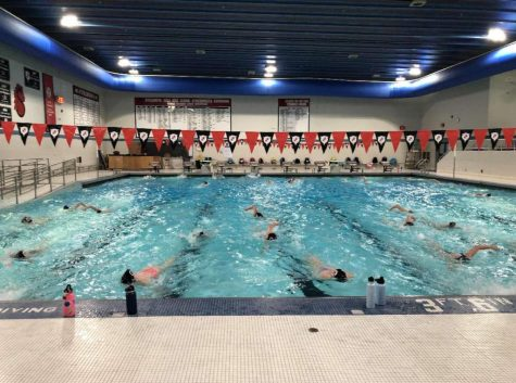 The girls swim and dive team practices during their 2020 season right before their sectional meets. This is similar to how the boys swim and dive team will look once their season is underway on Nov 30.