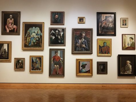 The portrait wall at MIA, on the third floor, contains many different types of portraits.  Some are self portraits that are very realistic and others are more abstract portraits of others.