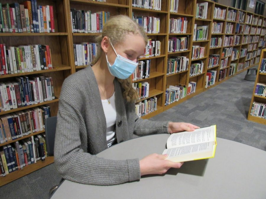 Junior co-president Felicity Flemming  reads her favorite genre, mystery in the school library. Fleming and Scanlan organized a Readers' Club starting this fall.