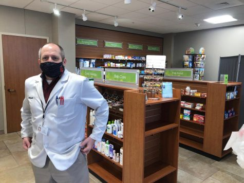 Jim Polucha, owner of Valley Drug in Stillwater, stands in front of an area in his small pharmacy. Pictured is the wide variety of personal care items they offer.