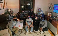 The Young Democrats Club poses during one of their masked debate parties in October. Both COVID restrictions and the election are making 2020 an engaging year for both them and the Young Republicans Club. Photo submitted by Olivia Hovland.