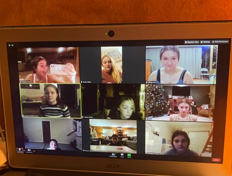 The Chevals Varsity Dance team practices via zoom since the covid-19 restrictions doesn