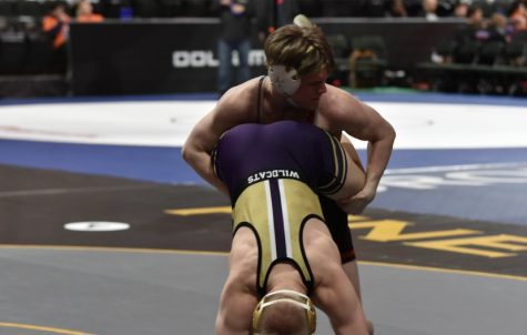 Roman Rogotzke at team State against the Wildcats.