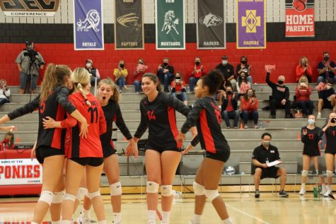 Volleyball team wins their final home game against Forest Lake in 4 sets.