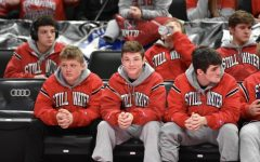 From left to right: Javon Tashuk, Hunter Lyden, Matt Houge, Kieler Carlson, and Owen Bouthilet. The team is at the state wrestling state tournament last February against Shakopee.