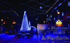 Downtown Stillwater has become decorated with lights. This scene is on Chestnut street looking towards the river.