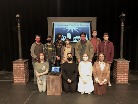 The cast of Kodachrome on stage with the set. The One Act was filmed so there was no live performances this year.