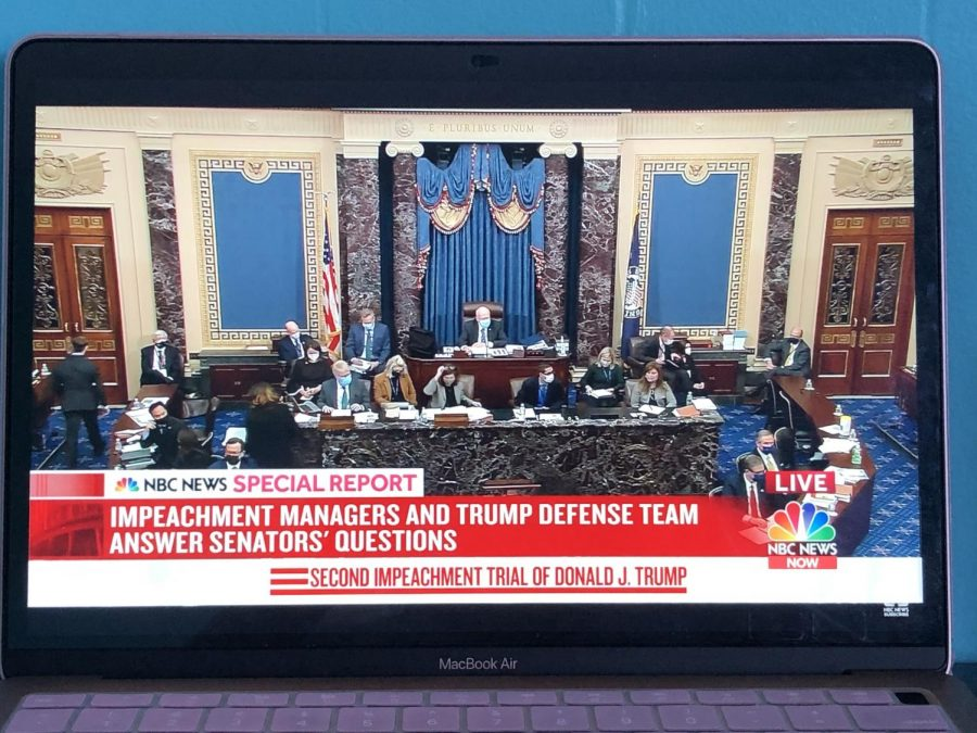 NBC News live streamed the impeachment trial when it was in session. On the left side is where the impeachment managers are and on the right is Trump's defense.