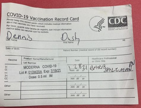 Special education teacher Dusty Dennis received the Covid-19 vaccine on Jan. 28 in the Twin Cities to help prevent himself and others from getting Covid-19. This vaccination card is a record of getting the vaccine.
