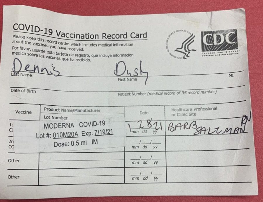 Special+education+teacher+Dusty+Dennis+received+the+Covid-19+vaccine+on+Jan.+28+in+the+Twin+Cities+to+help+prevent+himself+and+others+from+getting+Covid-19.+This+vaccination+card+is+a+record+of+getting+the+vaccine.