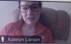 Choir teacher Katelyn Larson adapts to her surroundings and teaches choir on Zoom.