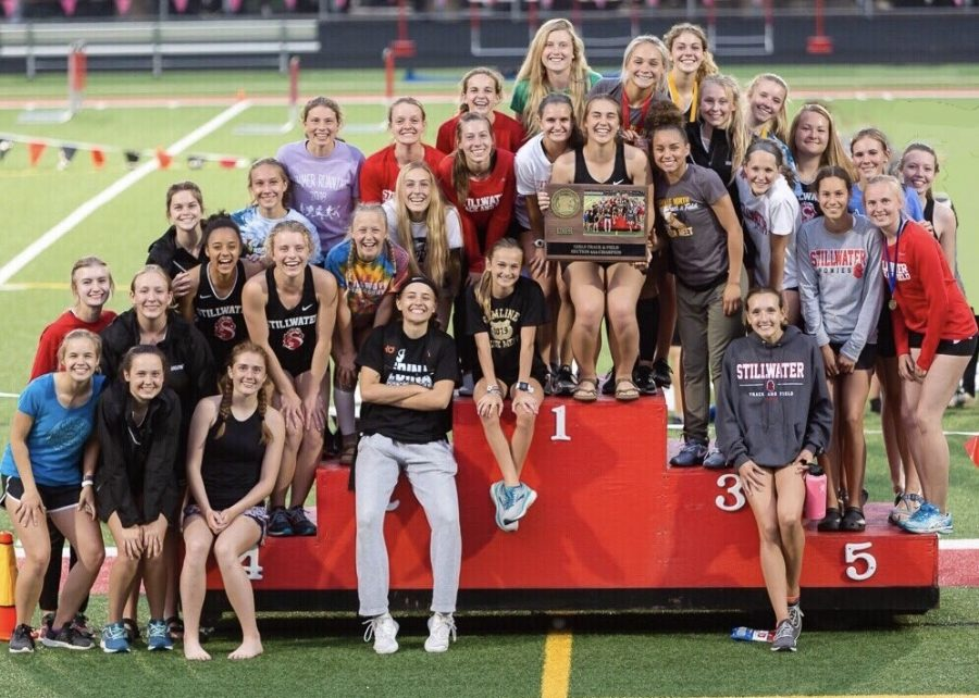 The girls track and field Varsity Track team back in 2019 winning the 4AA championship. Track and field will start their season during spring break.