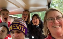 This photo was taken Oct. 5, 2019 during a Peer Helper retreat. Assistant Principal Chris Otto teamed with a group of peer helpers for a team building scavenger hunt. They found themselves 'trapped' in a golf cart.