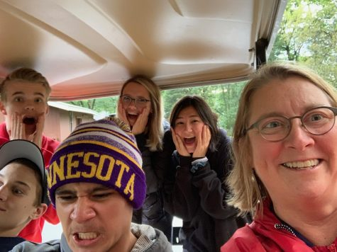 This photo was taken Oct. 5, 2019 during a Peer Helper retreat. Assistant Principal Chris Otto teamed with a group of peer helpers for a team building scavenger hunt. They found themselves