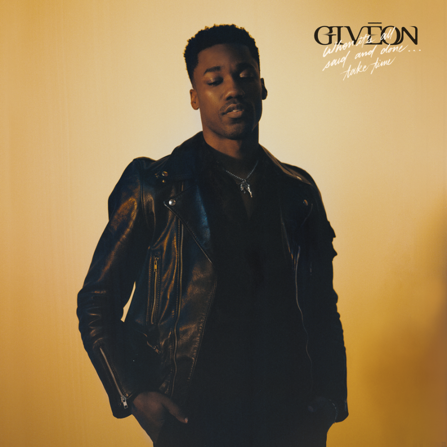 Giveon's album cover, there is a yellow honey background that goes well with the theme of the album when listening to it. He is in the middle as the spotlight and the light color makes him look valuable.