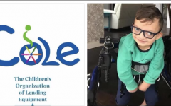 Peterson's son, Cole, poses for picture. On the left side is The COLE Foundations logo.