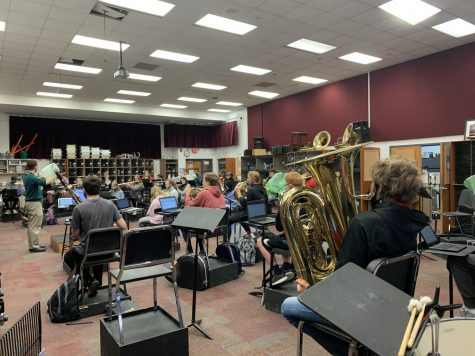 Students in the Wind Ensemble work hard during their class period. They are preparing for their May concert.
