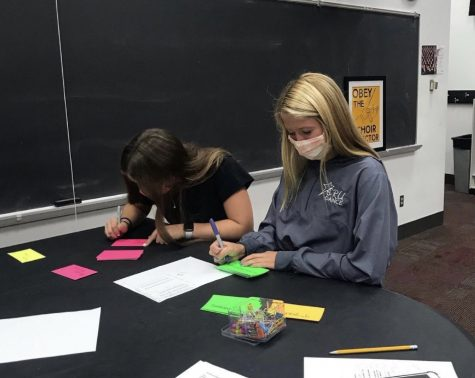 Maddie Motz, Elise Karlstad and the Choir board work in preparation for welcoming choir students as well as the Home Concert at Stillwater Area High School. With the crazy year that everyone has experienced, the Choir board has done what it can to transition and progress smoothly.