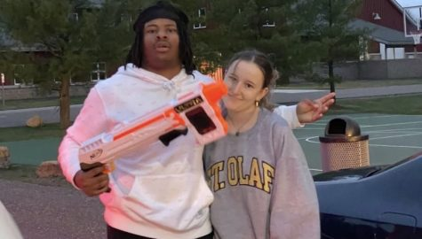 Sophomore Jawhn Cockfield with his first kill on Addie DeMars during war at Stillwater Public Works, on April 9.  Adding to the 69 recorded kills in the first two days.