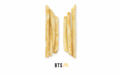 McDonald's teaser for upcoming BTS celebrity meal collaboration set for May 26 in the United States of America. The advertisement consists of fries forming the BTS logo.