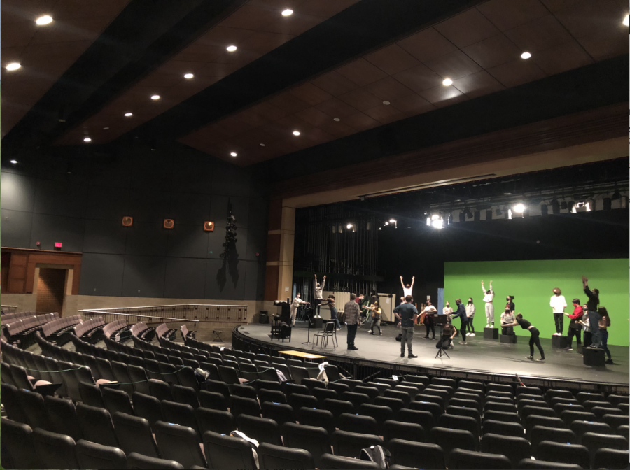 The cast of illuminations choreographing 'Beautiful City' before recording it for the first time. During the pandemic the Stillwater theatre department continues to thrive.