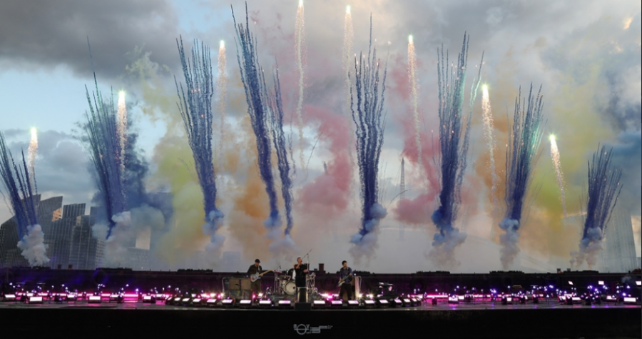 This is a picture of Coldplays performance at the Brit awards on May 11th, 2021.