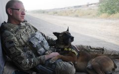 U.S. Air Force member stationed in Afghanistan relaxes with his K-9 partner. As a result of the Taliban's uprising after U.S. withdrawal on Aug. 30, troops are being deployed again.