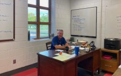 Pathway Coordinator Bob Manning in the Pathways Office planning Game Day and the upcoming Manufacturing Day.