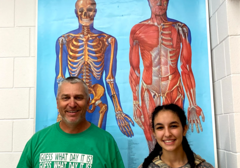 Doug Long, HOSA advisor and health science teacher with junior Shania Youssef. Both will be contributors to the HOSA club.